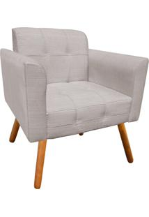 Poltrona Decorativa Elisa Linho Bege Texturizado A54 Com Pés Palito - D'Rossi