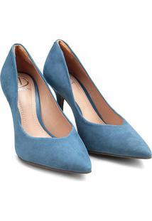 Scarpin Couro Dumond Salto Alto Bico Fino - Feminino-Azul