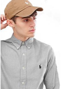 Camisa Ralph Lauren Striped Slim Fit Cinza