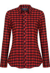 Camisa Feminina Flanela Xadrez Preto E Vermelho