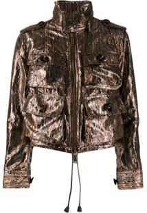 Dsquared2 Metallic Lurex Utility Jacket - Marrom