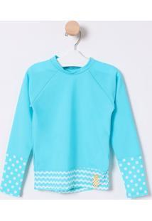 Camiseta Abacaxi Com Recortes- Azul & Verde Água- Pupuket