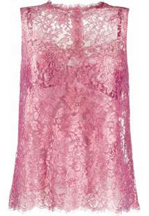 Dolce & Gabbana Blusa Sem Mangas Com Renda Floral - Rosa