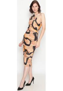 Vestido Ombro Único Com Recortes- Bege & Laranja- Foforum