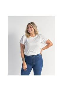 Blusa De Malha Texturizada Curve E Plus Size Branco