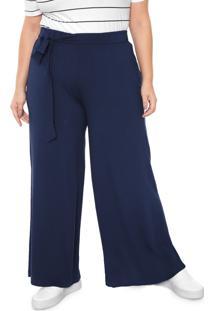 Calça Melinde Pantalona Lisa Azul Marinho - Kanui