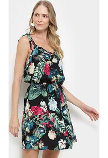 Vestido Pérola Evasê Curto Tropical Alça Nó - Feminino-Preto+Rosa