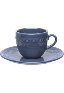 Conjunto 6 Xícaras Grandes Com Pires Oxford Mia Maré Porcelana Azul