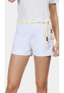 Shorts Sarja Califórnia Com Cinto Branco - Lez A Lez