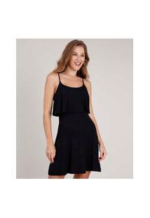 Vestido Feminino Curto Evasê Com Sobreposição Alça Fina Preto