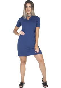 Vestido Bravaa Modas Decote Chocker Longline Camisão 289 Azul