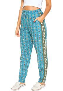 Calça Cantão Pijama Jardim Azul