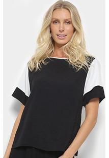 Blusa Forum Maxi T-Shirt Bicolor Feminina - Feminino-Preto