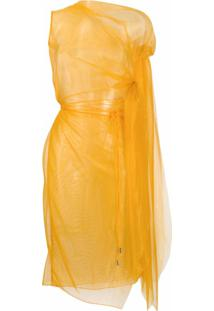 Supriya Lele Vestido Assimétrico Translúcido - Laranja
