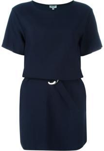 Kenzo Vestido Com Cinto - Azul
