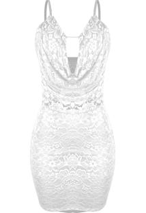 31f2771e5 Kanui. Vestido Branco Casual Festa Renda Curto U2 Decote Tiras Dri Alcinha  Outlet Fina