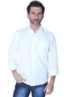 Camisa Manga Longa Mister Fish Social Basica Com Bolso Branco