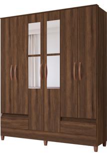 Guarda Roupa Ametista C/ Espelho 6 Portas E 2 Gavetas Externas Cedro Albatroz