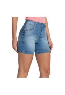Bermudas Jeans Claro Short Meia Coxa 27731 Feminina Biotipo Azul
