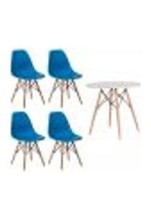Conjunto Kit 4 Cadeiras Eiffel Eames Azul + 1 Mesa Eames 80Cm Branca Base Madeira Sala Cozinha