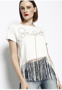 Camiseta Sunset Com Franjas- Off White & Marromdimy
