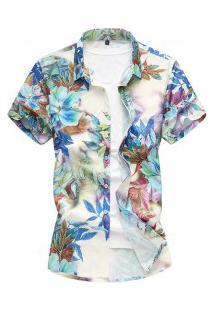 Camisa Masculina Slim Floral Print - Azul