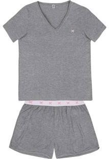 Pijama Em Viscose Com Shorts Com Lateral Arredondada E Elástico Diferenciado