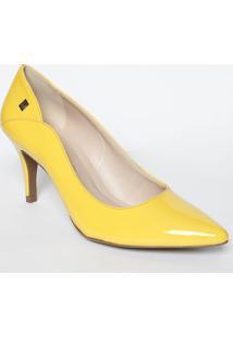 Scarpin Com Recorte - Amarela- Salto: 8Cm- Loucoloucos E Santos