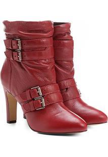 3026d9ea4 Bota Couro Cano Curto Shoestock Fivelas - Feminino-Vermelho