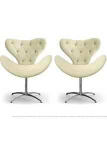 Kit De 02 Cadeiras Decorativas Poltronas Egg Com Capitonê Areia Com Base Giratória