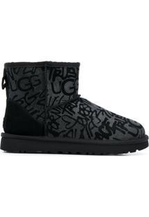 Ugg Ankle Boot Com Estampa De Logo - Preto