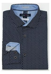 Camisa Manga Longa Slim Fit Estampada