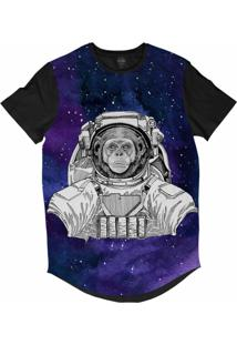 Camiseta Longline Insane 10 Animal Astronauta Chimpanzé No Espaço Sublimada Cinza