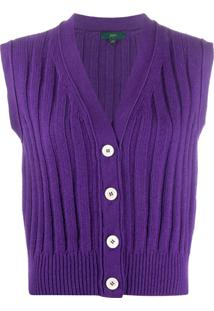 Jejia Sleeveless Rib-Knit Cardigan - Roxo