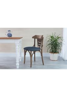 Cadeira De Madeira Moderna Estofada Augustine - Stain Nogueira - Tec.997 Chumbo - 45X50,5X83 Cm