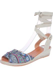 Sandália Dafiti Shoes Anabela Étnica Azul