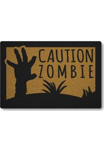 Tapete Capacho Caution Zombie - Ouro
