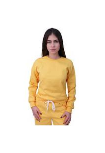 Blusa Moletom Plus Size Lisa Fechada Amarela