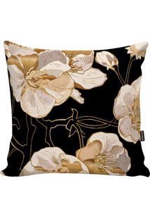 Capa De Almofada Flowers- Preta & Dourada- 45X45Cm