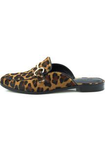 Sapatilha Bico Redondo Cocco Miami Leopardo Preto