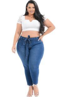 Calça Jeans Cambos Plus Size Capri Crystiane Azul