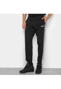 Calça Moletom Adidas Clássica Masculina - Masculino-Preto+Branco