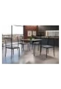Conjunto De Mesa De Jantar Grécia Com Tampo De Vidro Mocaccino E 4 Cadeiras Atos Linho Cinza E Preto