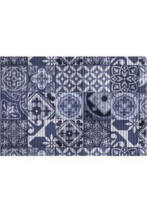 Tapete Para Cozinha Tropical Azulejo 43X65Cm Azul