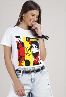 Blusa Feminina Mickey Manga Curta Decote Redondo Off White