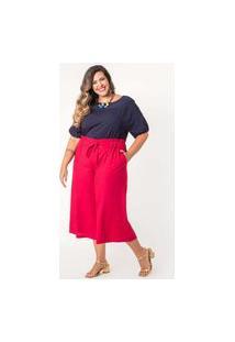 Calça Pantacourt Lisa Linho Plus Size Vermelho