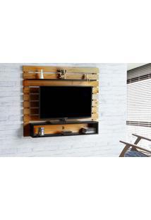 Rack Suspenso Standby - Painel De Madeira Para Tv Até 60 Polegadas Nózes E Preto - 135X23X115 Cm