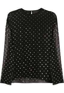 Pinko Blusa Translúcida Com Poás - Preto