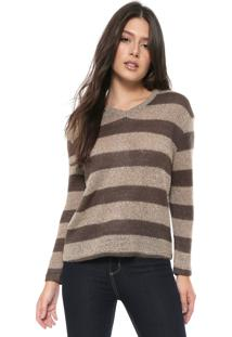 Blusa Tricot Facinelli By Mooncity Listras Marrom