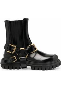 Dolce & Gabbana Ankle Boot Com Fivelas - Preto